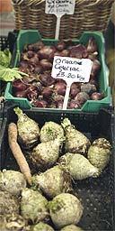Celeriac on sale at a Birmingham farmers' market
