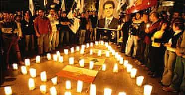A candlelit vigil in memory of Pierre Gemayel