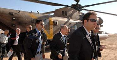 Ehud Olmert arrives in Sde Boker, southern Israel, for a cabinet meeting held in honour of David Ben-Gurion