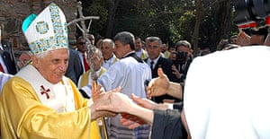 A crowd greets the Pope in Ephesus
