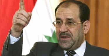 The Iraqi prime minister, Nuri al-Maliki, speaks on his return to Baghdad from his visit to Jordan