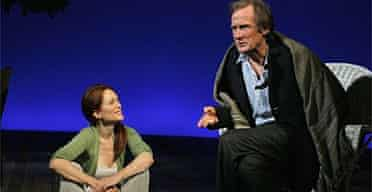 Julianne Moore as former war correspondent Nadia and Bill Nighy as liberal doctor Oliver in The Vertical Hour by David Hare, below, at New York's Music Box theatre