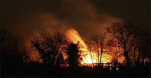 Fire rages at a fireworks depot in East Sussex