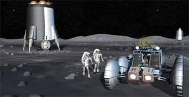 A computer illustration released by Nasa depicts possible activities during future space exploration missions