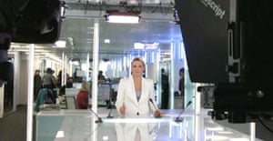 France 24's anchorwoman, Valerie Fayolle, on set in Paris