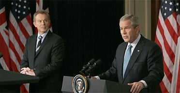 George Bush and Tony Blair take part in a joint press conference