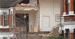A damaged house in Chamberlayne Road, north west London, after a small tornado ripped through the suburb of Kensal Rise