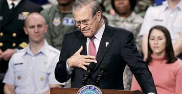 Donald Rumsfeld answers questions at the Pentagon