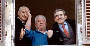 Petro Pacciani (centre), whose conviction for the killings was overturned in 1996