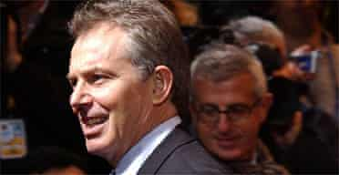 Tony Blair arrives for the EU summit in Brussels