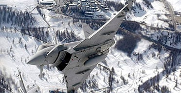 A Eurofighter or typhoon jet fighter plane.