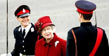 The Queen reviews her grandson Prince William at his passing-out parade at Sandhurst