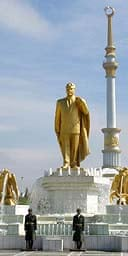 A statue of the late Saparmurat Niyazov in Ashgabat, Turkmenistan