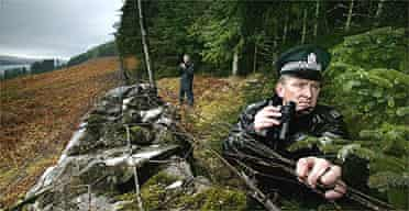 Police and RSPB officials watch over a Scottish nesting site