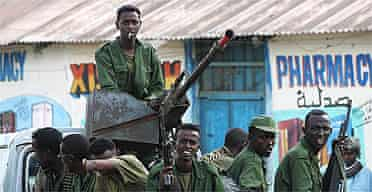 Transitional Federal Government soldiers on their truck in Bur Haqaba, Somalia