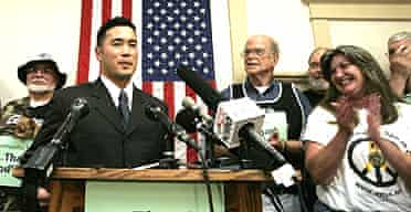 Lieutenant Ehren Watada at a press conference in June last year