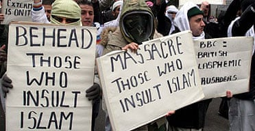 Muslims protest in London after the publication of cartoons depicting the prophet Muhammad in Danish and French newspapers.