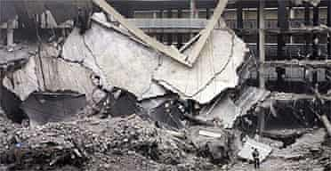 The bombed car park at Barajas international airport