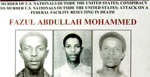 An FBI poster of Fazul Abdullah Mohammed who is accused by the US of involvement in the 1998 embassy attacks in Kenya and Tanzania