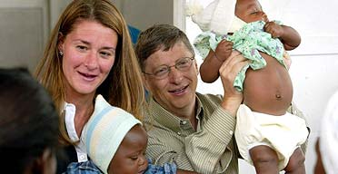 Bill and Melinda Gates with young patients at a health centre in Mozambique