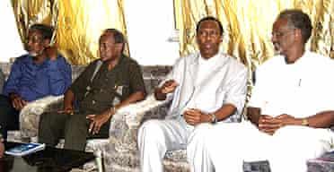 The Somali president, Abdullahi Yusuf (2nd from left)