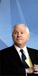 The US defence secretary, Robert Gates, at a Nato press conference