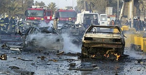 Wreckage outside a Baghdad university after a car bomb attack
