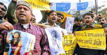 Protesters in Patna, India, shout slogans against the producers of Celebrity Big Brother