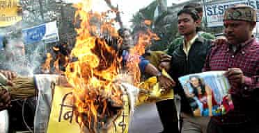 Supporters of Bollywood actor Shilpa Shetty in India burn an effigy representing Celebrity Big Brother organisers