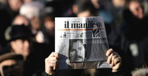 The front page of a mourner's newspaper reads 'excommunicated' following the death in December of Piergiorgio Welby