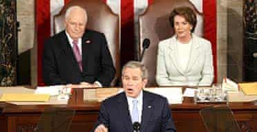 George Bush delivers his state of the union address while the vice-president, Dick Cheney, and the Speaker of the House, Nancy Pelosi, listen.