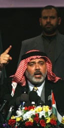 The Palestinian prime minister, Ismail Haniyeh at his recent audience with journalists and intellectuals in Gaza City