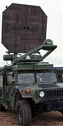 The US military's Active Denial System, a non-lethal ray gun that fires microwaves that makes people feel they are about to catch fire.