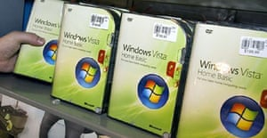 Shelves are stocked in a computer shop in Fairfax, Virginia before the official release of Microsoft Vista