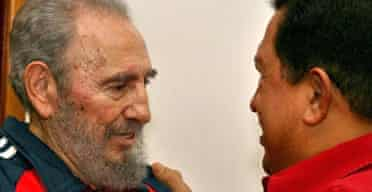 The first images of Fidel Castro in three months show him meeting Venezuela's president, Hugo Chávez, in Havana