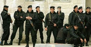 Palestinian special guards in front of President Mahmoud Abbas's headquarters in Ramallah