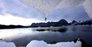 An iceberg melting in Kulusuk, Greenland, near the arctic circle