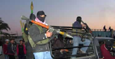 Hamas militants take over a Palestinian presidential guard convoy in Gaza