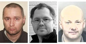 Paedophiles David Beavan (R), Alan Hedgcock (C) and Robert Mayers (L), who planned to rape two young girls they had targeted over the internet, have been jailed for a total of 27 years