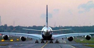 An Airbus A380 taxies on the tarmac before takeoff