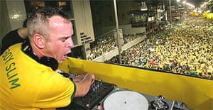 Fatboy Slim plays at the Salvador carnival in Brazil