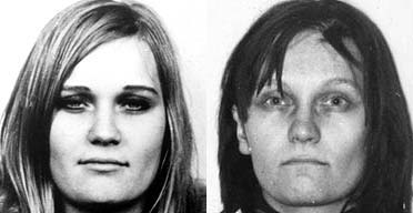 Two police photographs of Brigitte Mohnhaupt, who has spent 24 years in prison for her involvement in nine murders