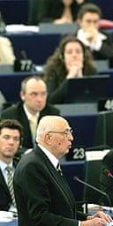 Italy's president, Giorgio Napoletano, addresses the European parliament