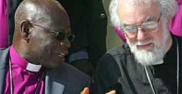 The archbishop of Canterbury, Rowan Williams, (right) and the Nigerian Anglican archbishop, Peter Akinola