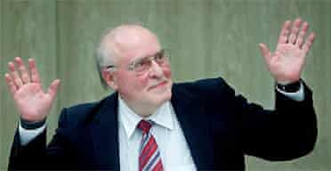 German neo-Nazi publisher Ernst Zündel, who has been sentenced to five years in prison for inciting racial hatred and denying that the Nazis murdered six million Jews
