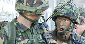 Prince Harry in full combat gear during his final training exercise in Cyprus.