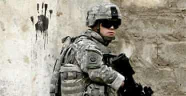 A US soldier in the southeast of Baghdad, Iraq
