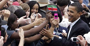 Barack Obama greets supporters during a Democratic rally in Austin, Texas
