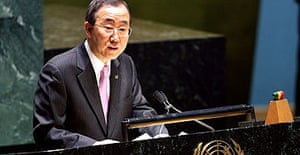 The United Nations secretary general, Ban Ki-moon, addresses students from the UN international school in New York.