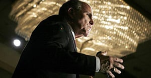 Former New York mayor and presidential candidate, Rudy Giuliani, speaks to Republican party members in Vienna, Virginia.